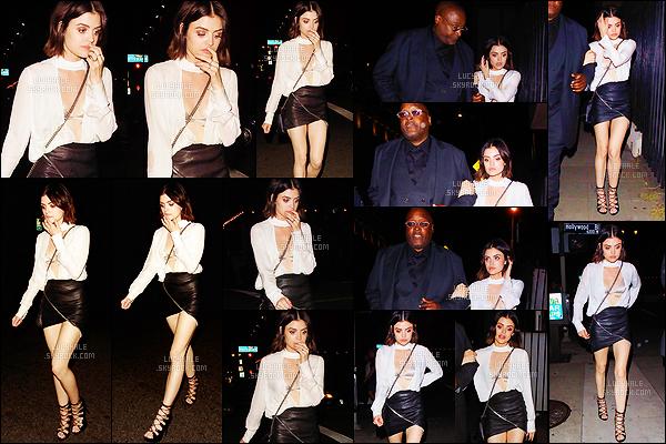 17/06/2017 : Dans la soirée, Lucy sortait du restaurant Viva Hollywood où elle a fêté son 28e anniversaire. L. portait une tenue très glamour qui lui va bien malgré le fait qu'elle n'ai pas assez de poitrine. Elle a notamment invité Tyler Posey et Sarah Hyland.