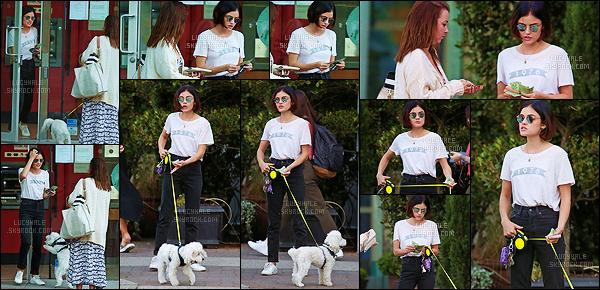 23/08/2017 : Miss Hale faisait un retrait à sa banque pour pouvoir payer la petsitter de son petit chien Elvis. Durant le tournage de Life Sentence au Canada, Lucy ne pouvait pas être loin de son chien et a donc décidé de l'emmener avec elle. Tellement mignon !