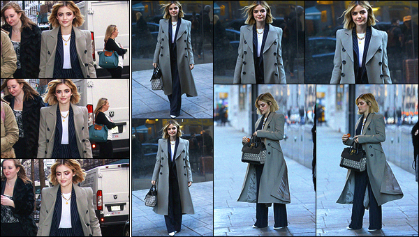 09/01/2019 : Lucy a été aperçue plusieurs fois arrivant et sortant de plateaux dans la belle ville de New York. La miss a donné des interviews concernant sa carrière mais également pour son affiliation avec la marque de céréales Cheerios. Son manteau est top !