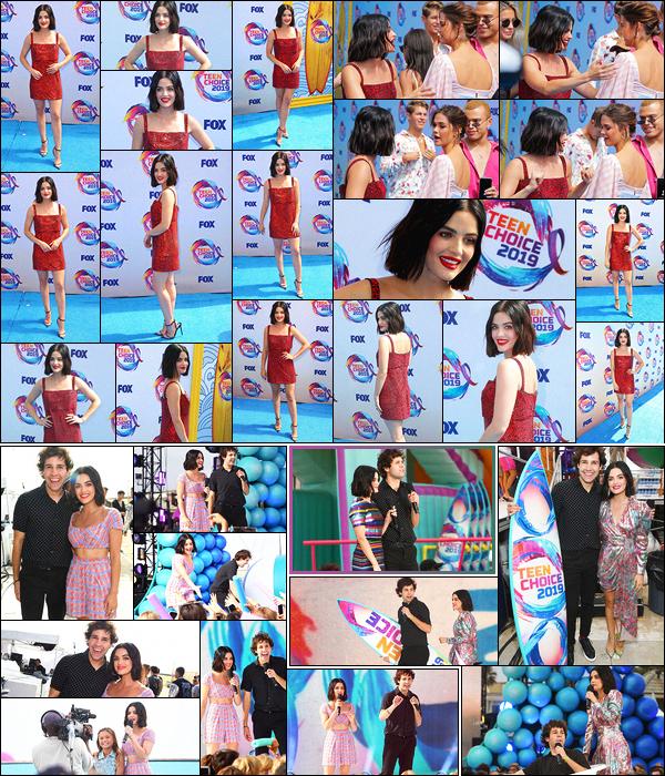 11/08/2019 : Lucy et le youtubeur David Dobrik présentaient les Teen Choice Awards 2019, Hermosa Beach. Lucy présente pour la seconde fois les TCA. C'est dans différentes tenues que la belle présentatrice a fait le show. J'adore vraiment tout ce qu'elle porte.