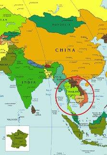la Thaïlande se situe au sud de la Chine