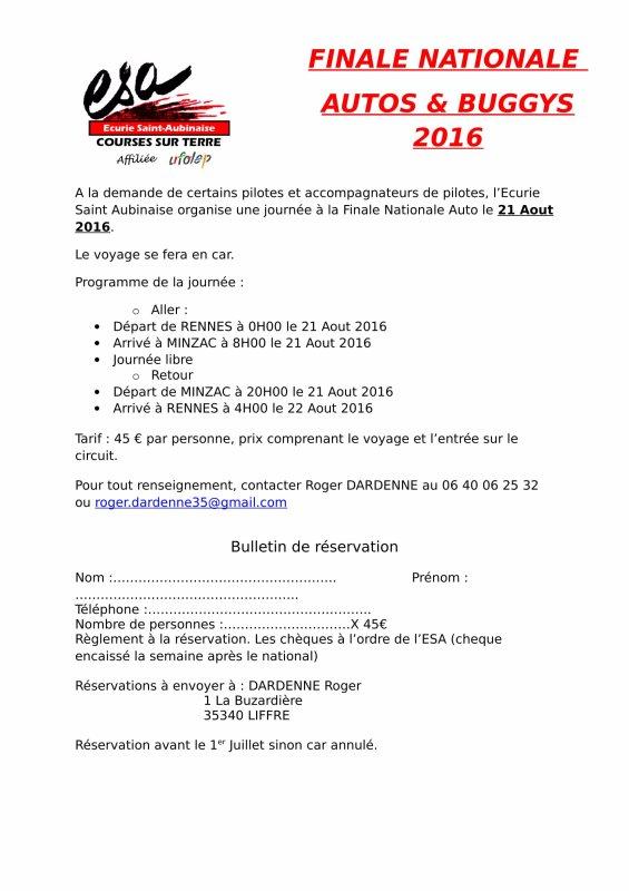 Voyage groupé Finale Nationale Autos & Buggys 2016