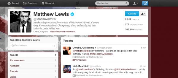 Projet d'anniversaire Matthew Lewis