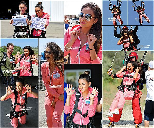 18/08/12 : Shay est allée au 18 pour 18 pour célébrité ou elle a fait un saut en parachute a Santa Barbara.