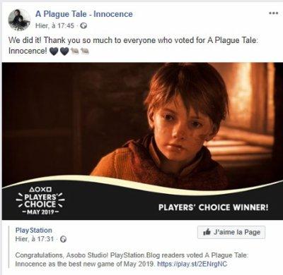 A PLAGUE TALE : meilleur jeu de mai 2019 pour les joueurs Playstation 4