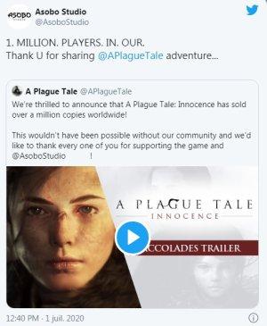 A Plague Tale : Innocence s'est vendu à plus d'un million d'exemplaires dans le monde