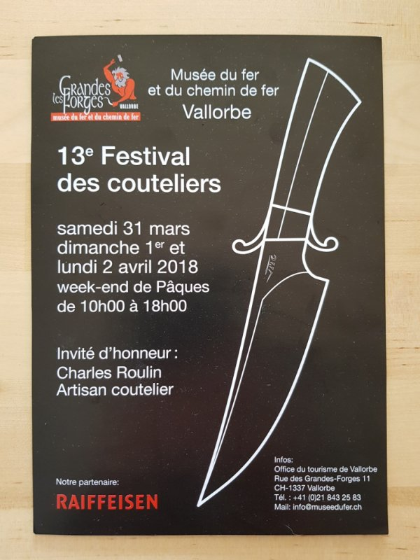 A L'ANNÉE PROCHAINE ! Exposition de ma fabrication artisanale pendant le festival des couteliers au Musée du fer et chemin de fer à Vallorbe - Suisse