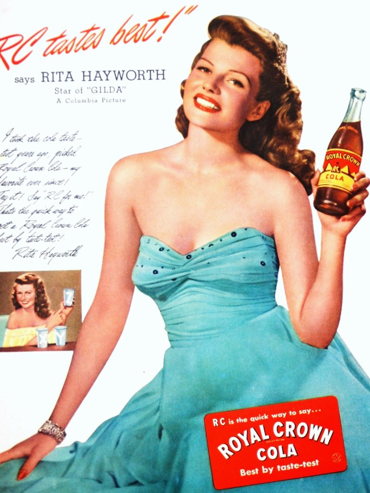 "LA RECLAME et les STARS : de haut en bas : Madeleine CARROLL pour ""Chesterfield"" / Rita HAYWORTH pour ""Royal Crown Cola"" / Marilyn MAXWELL pour ""Max Factor Hollywood"" / Rosalind RUSSELL pour ""Chesterfield"" / Martha TILTON pour ""Camels"" / Mona FREEMAN pour ""Paris Fashion Shoes"" / Veronica LAKE pour ""Lux"" / Zsa Zsa GABOR pour ""Paper Mate""."