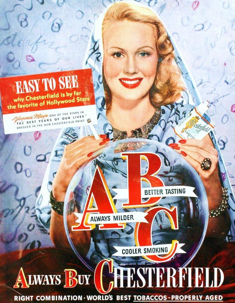 """CITATION : Oh my god !!! / « Si j'avais à choisir entre une dernière femme et une dernière cigarette, je choisirais la cigarette : on la jette plus facilement ! » de Serge GAINSBOURG. (de haut en bas) Virginia MAYO, advertising for """"Chesterfield"""" / Audrey HEPBURN / Brigitte BARDOT / Marie LAFORET / Lauren BACALL / Monique Van VOOREN / Olivera VUCO / Sophia LOREN"""