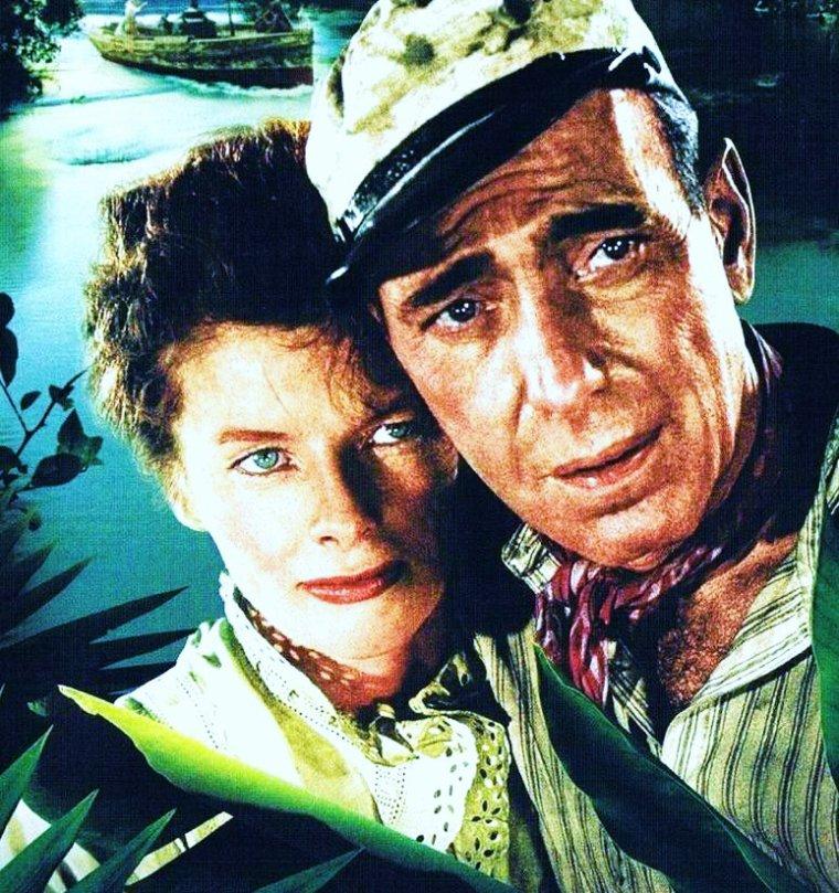 """FILM CULTE / 1951 / Avec un couple improbable (une religieuse et un vieil alcoolique), Katharine HEPBURN et Humphrey BOGART dans """"The african queen""""..."""