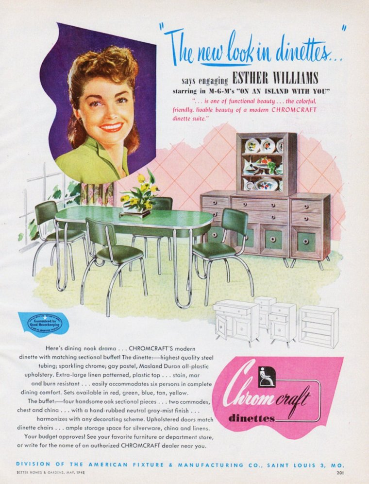 TOUT POUR LA MAISON / RARE ADVERTISING / Les objets du quotidien, plébiscités par les STARS dans les années 40-50... (de haut en bas) Susan HAYWARD / Barbara HALE / Dorothy LAMOUR / Ellen DREW / Esther WILLIAMS / Gail RUSSELL / Esther WILLIAMS / Merle OBERON