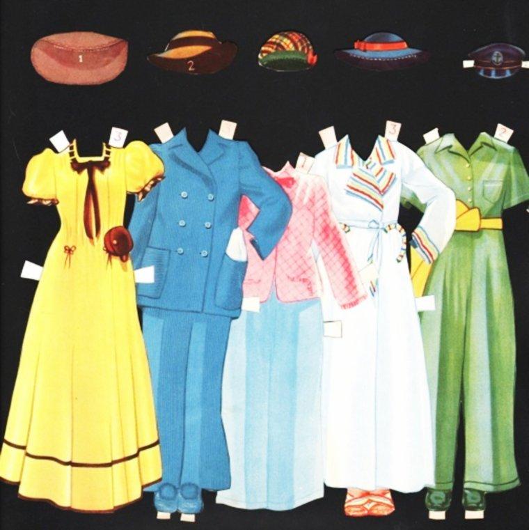 """FUN / Gloria JEAN (née le 14 Avril 1926) est une actrice et chanteuse Américaine... (Gloria JEAN paper-doll). Pratiquement toutes les actrices des années 40 à nos jours sont à l'effigie de jolies petites poupées de papier à habiller... Un exemple ici, avec la poupée de papier et ses tenues de la STAR. Elle nous donne ainsi un bel aperçu de la mode dite """"vintage""""."""