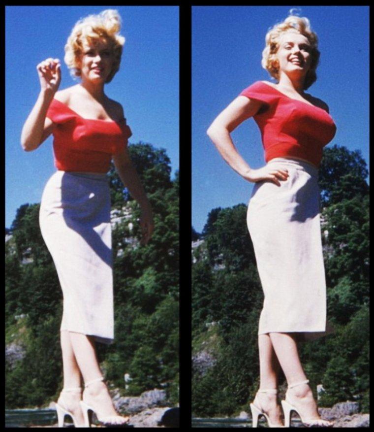 """RARE / Poursuivons ces moments d'évasion hors des studios avec Marilyn en 1952, en extérieur lors du tournage du film """"Niagara""""..."""