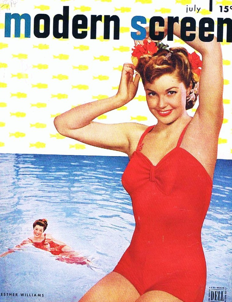 THEMATIQUE / Covers and Advertising : nos STARS en maillot... (de haut en bas) Virginia MAYO / Anita EKBERG / Jayne MANSFIELD / Janet LEIGH / Barbara FREKING / Carole LANDIS / Janet BLAIR / Esther WILLIAMS