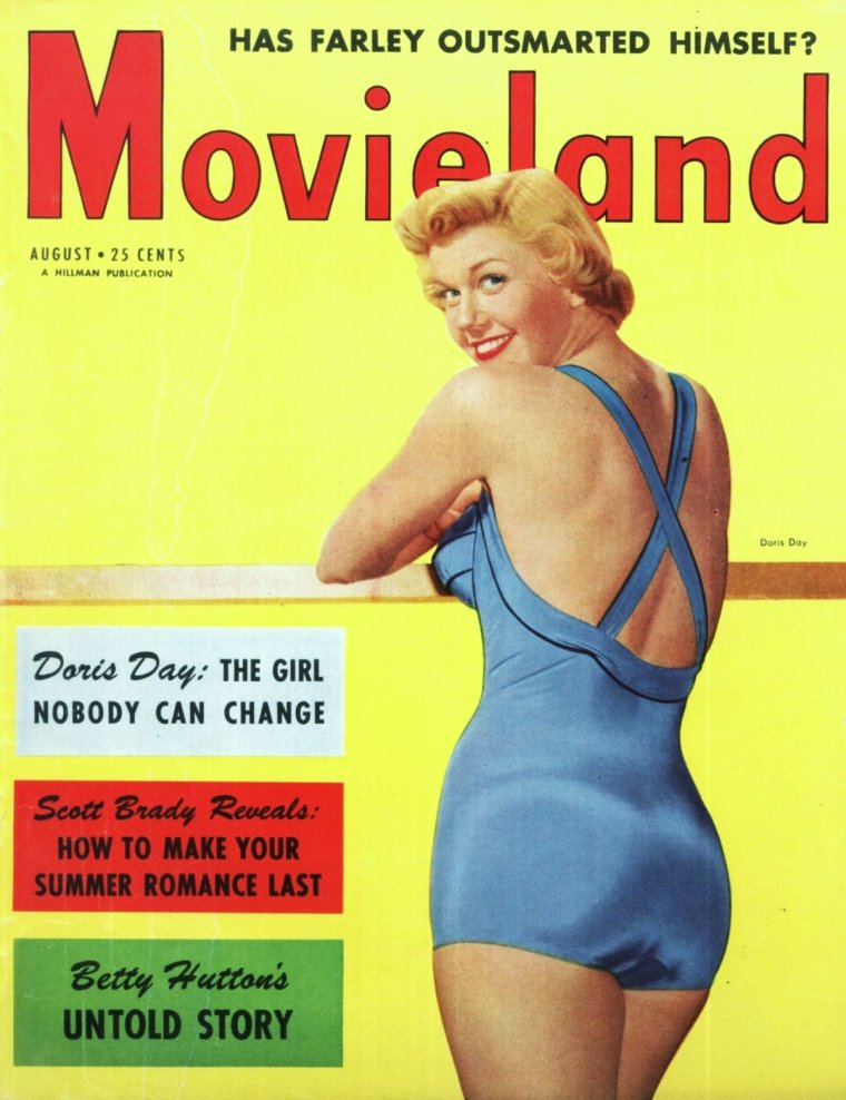 LES COVERS de l'été... (de haut en bas) Betty GRABLE / Jayne MANSFIELD / Janet LEIGH / Mitzi GAYNOR / Anita EKBERG / Barbara HALE / Doris DAY / Sheree NORTH