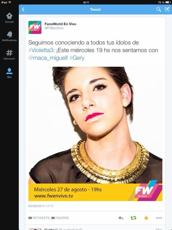 Macarena sera demain à l'émission FW en vivo ce mercredi à 19h en argentine (minuit en France)