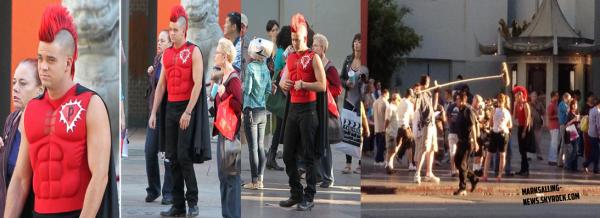 01/10/12 Mark tournait au Hollywood Walk of Fame à L.A, une scène où Puck se déguise en Super Puckerman