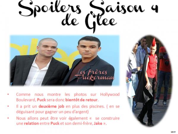 Spoilers sur Puck, saison 4 de Glee