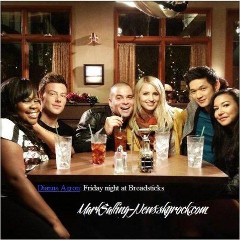 Photos postées via Twitter: une postée par Dianna et l'autre par Mark sur le tournage de Glee