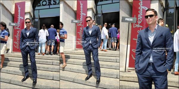 """23/06/13 Mark est en ce moment en Italie, il était présent pour la Fashion Week de Milan. Mark a posé à son arrivée pour la marque """"Salvatore Ferragamo"""", et a ensuite assisté au défilé, de la collection printemps/été 2014. Mon avis personnel sur sa tenue: je le trouve très classe, costume simple mais très chic pour assister à un défilé, costume bleu foncé, chemise bleue-grise. Les lunettes lui vont super bien, il peux donc cacher son visage derrière car il à l'air quelque peu fatigué, surement à cause du décalage horaire... Alors, que pense-tu de sa tenue ? TOP ou FLOP ?"""