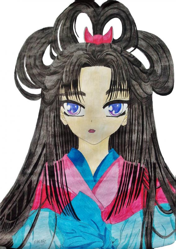 Chinoise avec Plein de cheveux