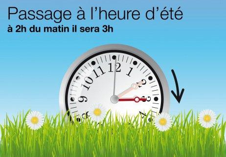 Le passage à l'heure d'été se déroulera dimanche à 2 heures du matin. Il faudra alors ajouter une heure à vos montres et horloges. Il sera alors 3 heures. Puis le dimanche 26 octobre 2014, à 3 heures du matin, nous repasserons à l'heure d'hiver.