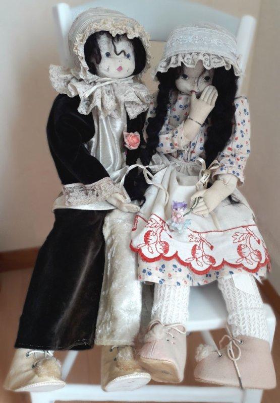 Couple de poupées Malou Ancelin années 80