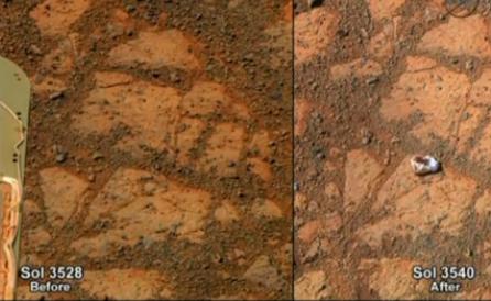 NASA - Un mystérieux caillou blanc apparaît sur Mars, la Nasa ne comprend pas