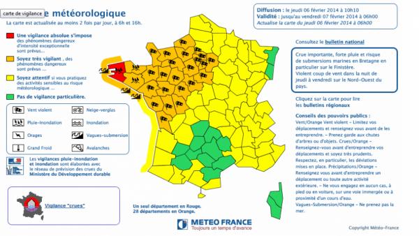 Tempête - Alerte rouge dans le Finistère, 28 départements en alerte orange jusqu'à demain