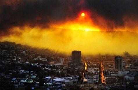 Feu -  Incendie géant et incontrôlable au Chili à Valparaiso, déjà 4 morts et 3.000 personnes évacuées