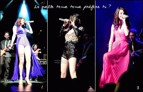 . 21.01.12 - Selena Gomez a donnée son premier concert à Porto Rico, en Amérique du Sud. Avis perso:J'aime sa robe, elle vraiment belle ! Selena G. est magnifique.Vos avis sur la robe de Selena ? .