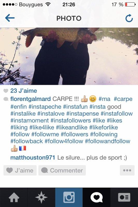 Le chanteur qui me parle de pêche sur instagram !