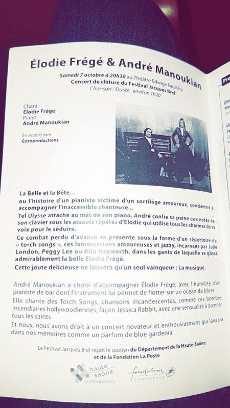 Concert Elodie Frege avec André Manoukian a Vesoul le 7 octobre 2017
