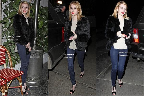 . 10 janvier 2012 - Emma était encore au chateau Marmont, elle le quittait avec une veste en fausse fourrure, évidement ! top. .