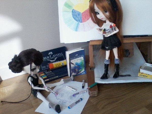 Photos en vrac... Myou et Shizou-chan dessinent!