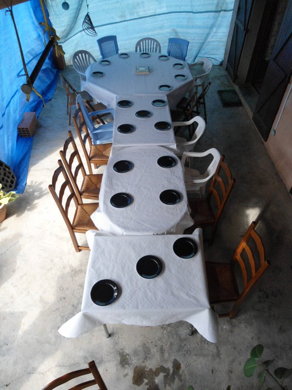 repas cher un collègue dimanche et mon petit délire avec une enorme serrure et les domino