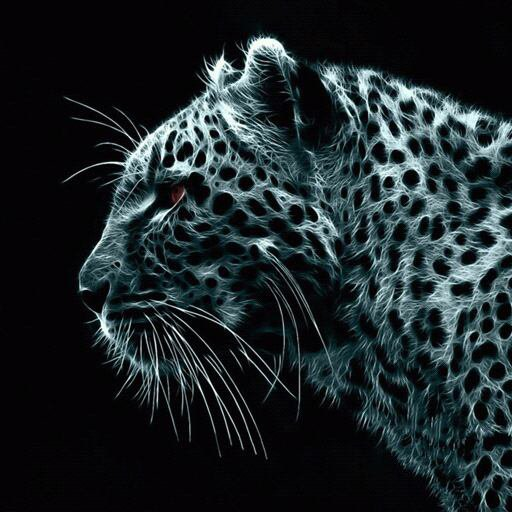 Tigre blanc avec des tâche noir et ls yeux rouge