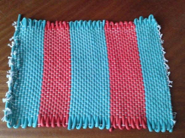 TAPIS PVC BLEU/ROSE