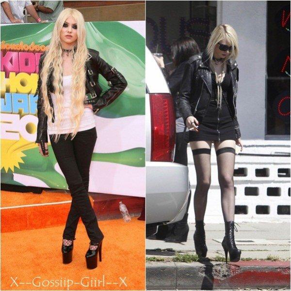 Taylor le 2 avril lors des Kids' Choice Awards 2011 et le 1 er après un dejeuner entre amis .