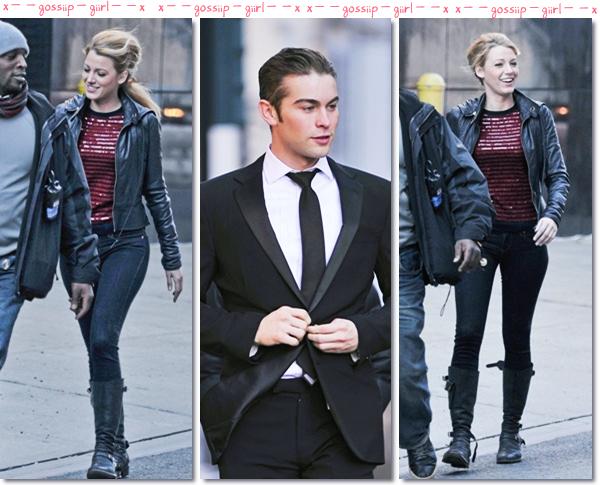 Spotted : S. + C. + N. à New York pour le tournage de Gossip Girl le 1 er décembre.