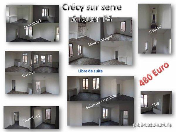 A louer 90 m2 F4 crécy sur serre libre de suite