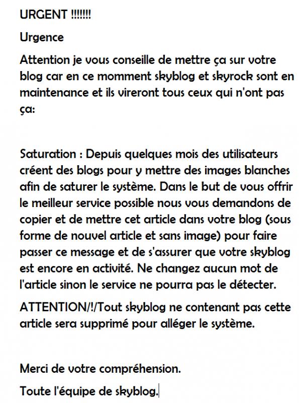 Urgent ! A m'être sur son blog.