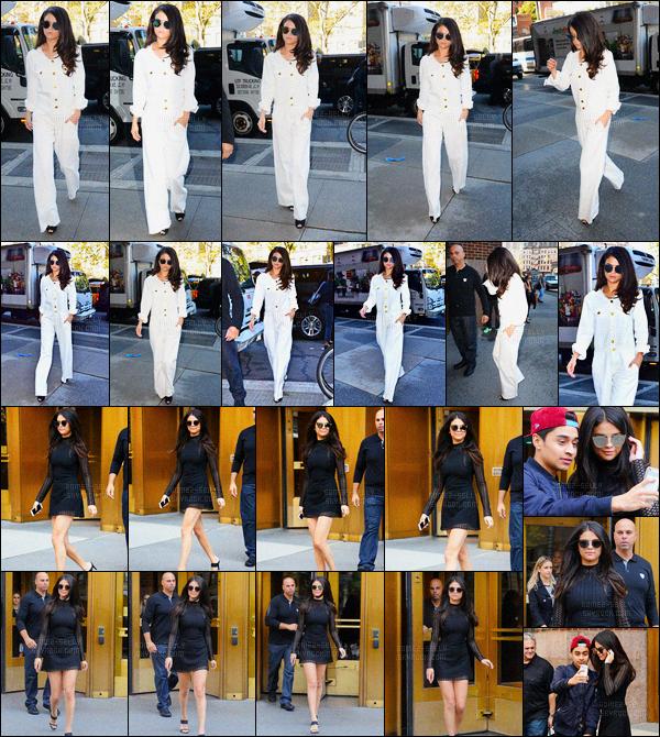 13/10/2015 : Selena Gomez a été aperçue arrivant puis quittant les studios de Z100, se situant dans New York. Selena Gomez est arrivée aux studios, dans une belle tenue blanche, puis, est ressortie dans une robe courte noir. Deux jolies top, pour la brunette !