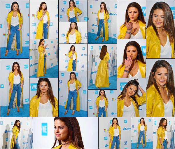 07.04.16 ─ Selena Gomez était présente lors de l'évènement de « We Day », qui se déroulait, dans Inglewood, CA.La jeune chanteuse SG qui se rend depuis 4 ans à l'évènement de la fondation. Selena a performé sur Kill Em With Kindness. Pour sa tenue, c'est un flop.