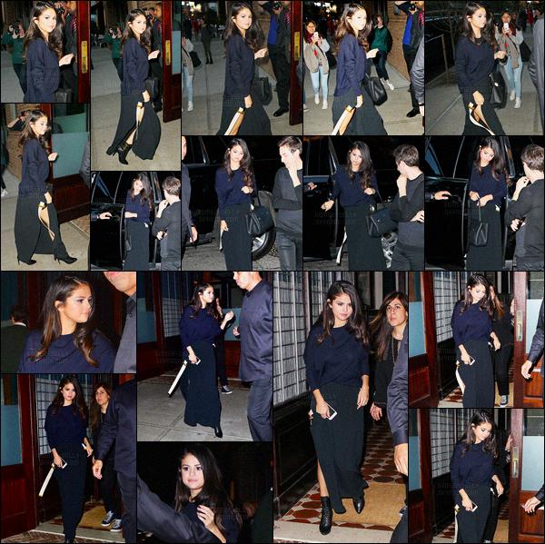 12/10/2015 : Selena Gomez a été photographiée, arrivant puis quittant l'hôtel Greenwich, dans New York City. Selena s'est aussi rendue au restaurant Zuma. Dans deux tenues différentes évidemment, comme d'habitude c'est deux tops pour la belle brunette.