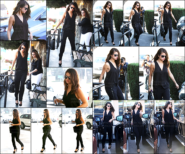 . 29/01/2014 - Selena Gomez a été vue quittant « The Little Cafe » après y avoir déjeuner avec sa mère. Selena G. est toute rayonnante dans sa combinaison noire, de plus je suis fan de son sac à main noir clouté ! Pour moi c'est donc un magnifique top ! .