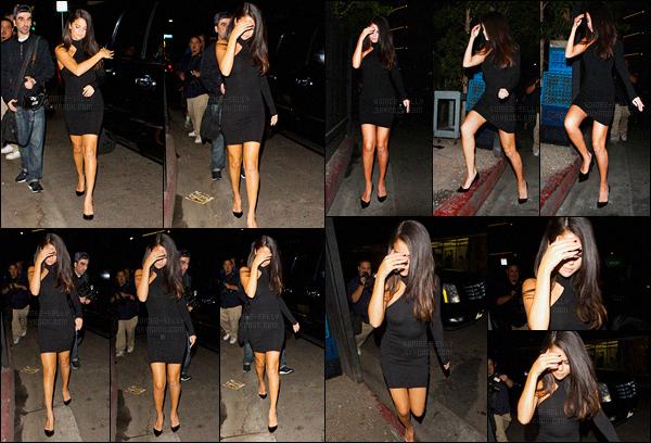 05.09.2015 ─ Selena Gomez a été aperçue arrivant au restaurant « The Nice Guy » étant dans le West Hollywood.Puis plus tard, Selena G. a été aperçue quittant le restaurant. Elle était vêtue d'une robe moulante noire, c'est un très beau top pour ma part. Et vous ?
