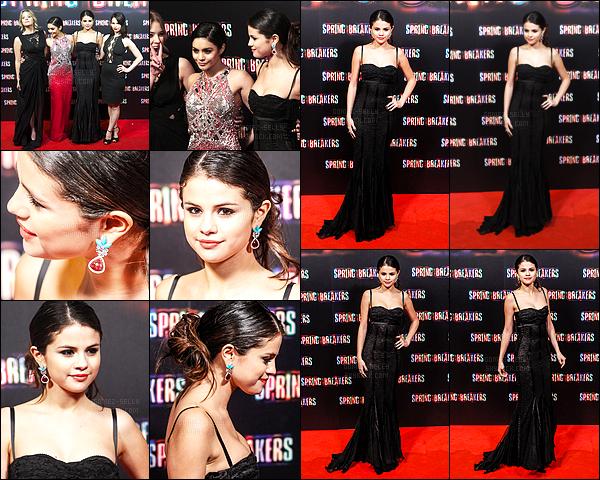 21.02.2013 ─ Selena Gomez était présente lors de l'avant-première du film « Spring Breakers », étant, à Madrid.Selena Gomez, je vous rappelle, interprète le rôle de Faith. Selena G. était magnifique dans longue robe noire... La plus belle des quatre à mon gout !