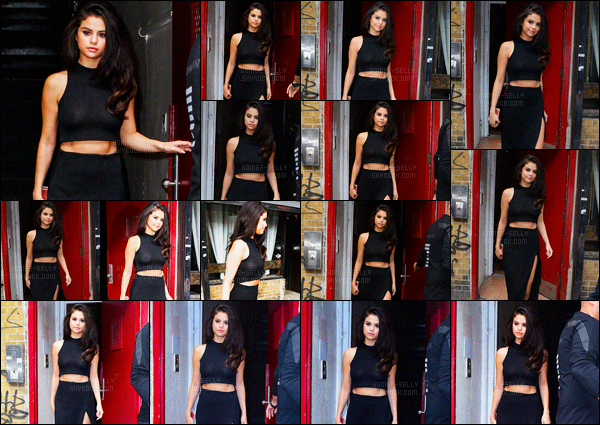 13.10.2015 ─ Selena Gomez a été photographiée arrivant puis quittant un immeuble, étant, dans New-York City.Selena Gomez ne s'arrête plus notre magnifique brunette. Dernière sortie de la journée, et encore une nouvelle tenue. C'est donc un jolie top de sa part.
