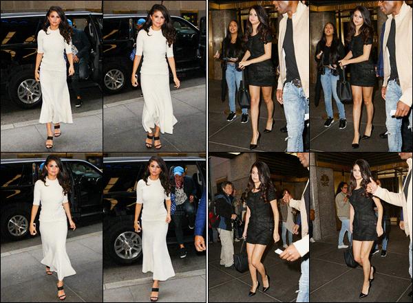 14/10/2015 : Selena Gomez a été aperçue arrivant puis quittant les studios de « NBC », qui est, dans New York. Selena G. est d'abord arrivée vêtue d'une tenue toute blanche, je n'aime pas trop personnellement. Sa deuxième est très jolie. Un flop et un top !
